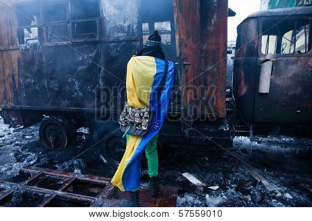 Kiev, Ukraine - January 20, 2014: The Morning After The Violent Confrontation