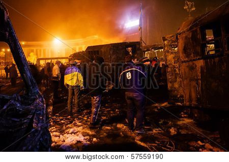 Kiev, Ukraine - January 20, 2014: Violent Confrontation And Anti-government Protests On The Hrushevs