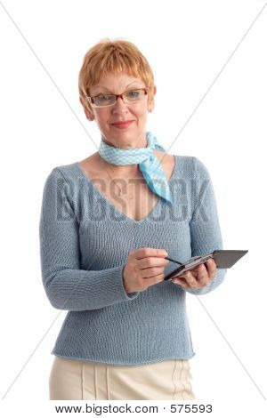 Attractive Mature Woman With Handheld