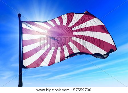 Japanese navy ensign waving on the wind