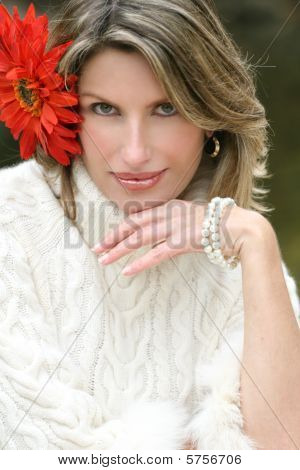 Yellow Flower - Gorgeous Woman With Red Flower In Her Hair