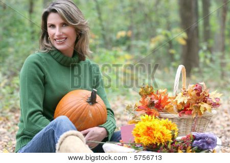 Relaxing In  Park - Attractive Female, Fall, Seasonal Setting