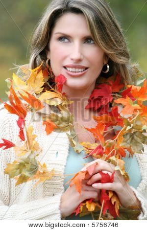 Woman In A Park, Fall, Seasonal Theme