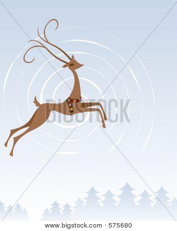Reindeer In Flight
