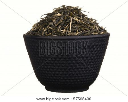 Black Metal Tea Cup With Green Tea Brew Isolated On White