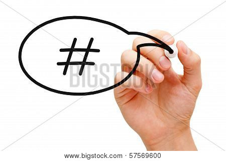 Hashtag Speech Bubble Concept