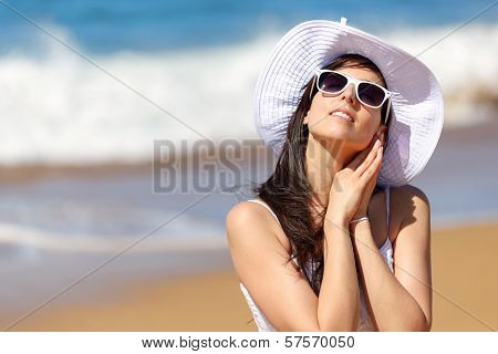 Woman Relaxing On Summer Beach Vacation