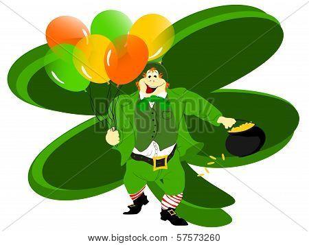leprechaun balloons clover backgrd
