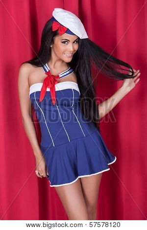Sexy Woman In Cute Nautical Outfit