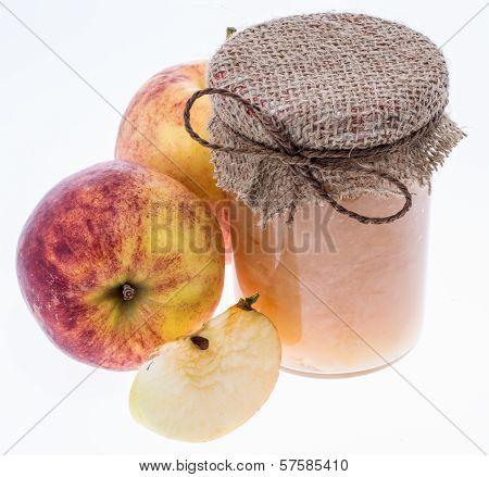 Fresh Made Applesauce Isolated On White
