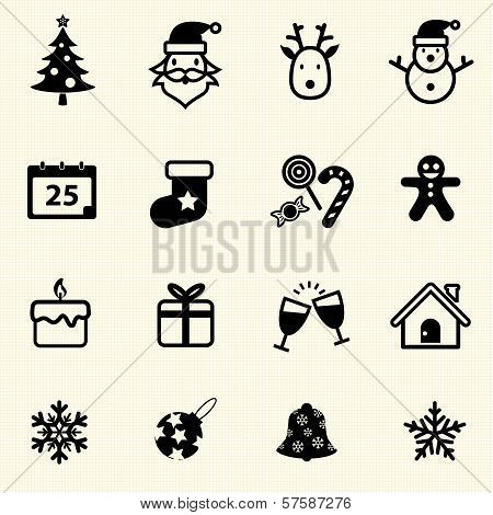 Christmas and New Year Icons with texture background. Vector icon set.