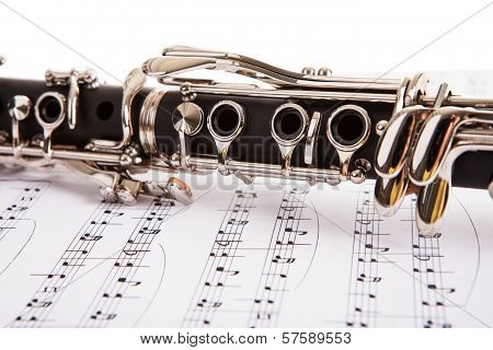 Close-up Of Clarinet And Musical Notes