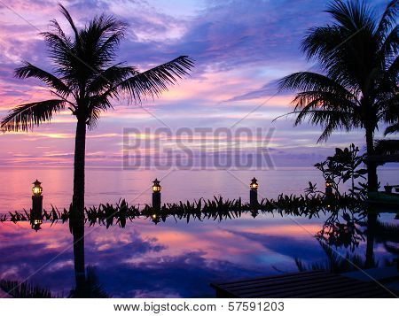 Sunset Over The Andaman Sea. View From An Infinite Pool