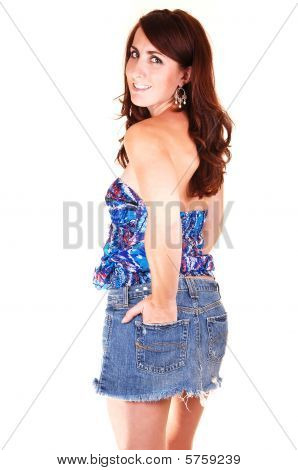 Pretty Girl In Jeans Mini Skirt.