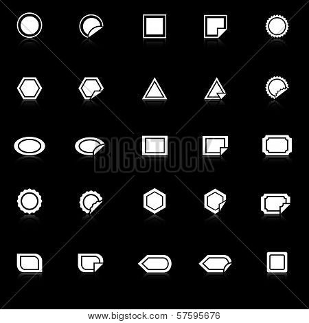 Label Icons With Reflect On Black Background