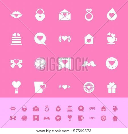 Heart Element Color Icons On Pink Background