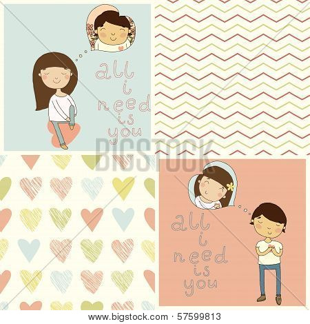 Set with cute kids card and lovely seamless patterns.