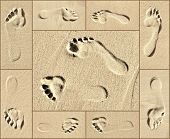 picture of footprints sand  - Collage of Footprint close ups on beach sand - JPG