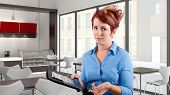 pic of pushy  - young red head waitress fed up with her job - JPG
