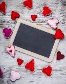 picture of heartfelt  - Chalkboard with handmade felt hearts - JPG