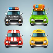 stock photo of flashers  - detailed vector car icon set on background - JPG