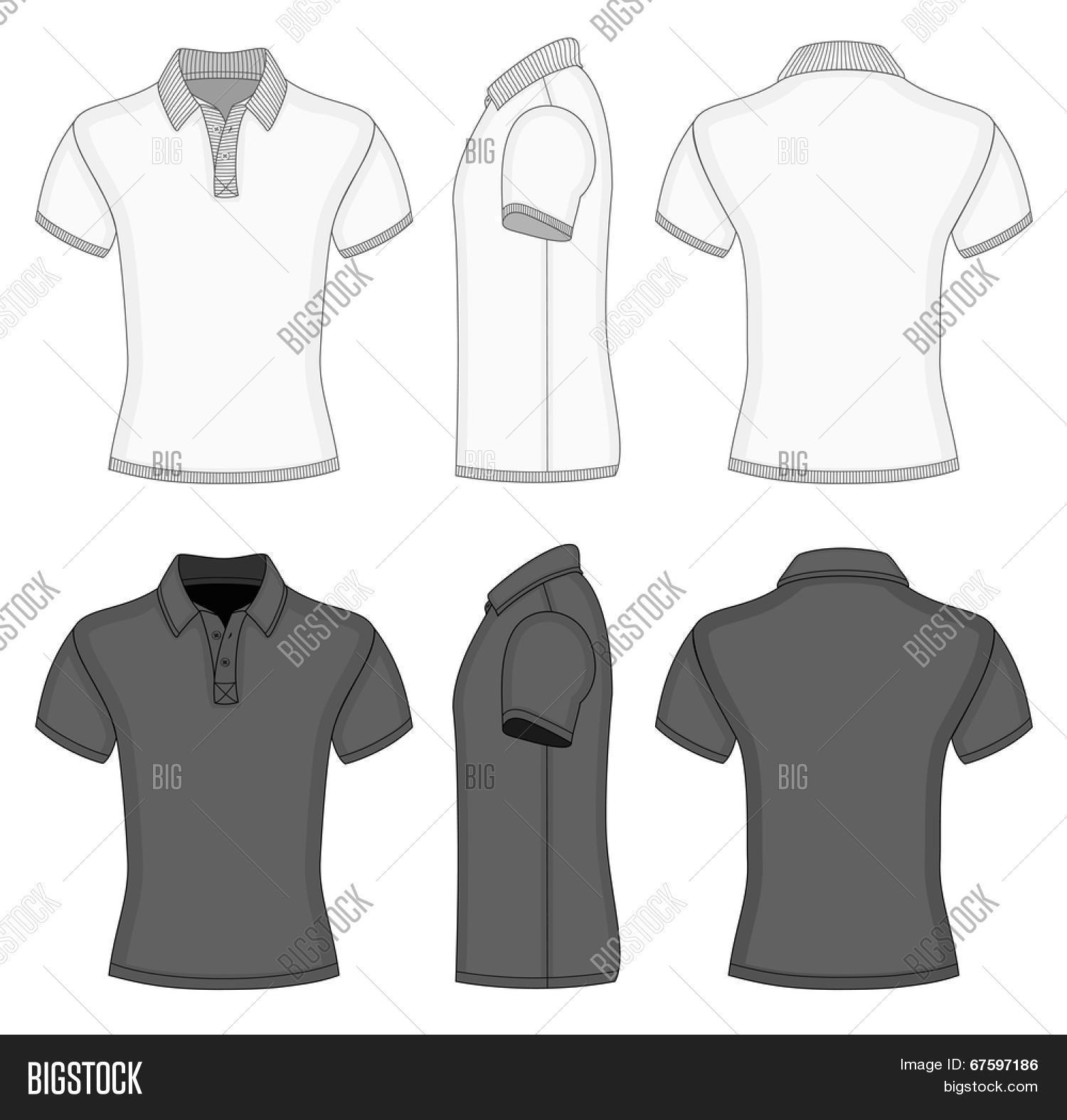 Black t shirt vector front and back - Men S White And Black Short Sleeve Polo Shirt And T Shirt Design Templates Front