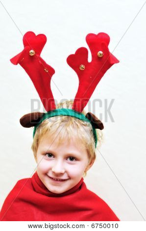 Little Boy With Christmas Antlers
