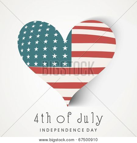 Stylish heart shape covered with national flag on blue background for 4th of July, American Independence Day celebrations.