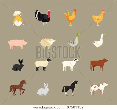 Farm animals set in flat style