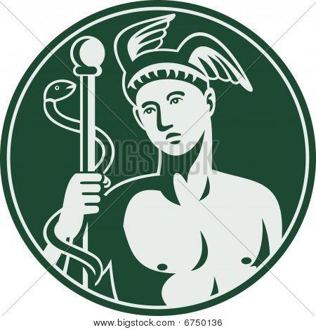 Greek God Hermes holding a caduceus