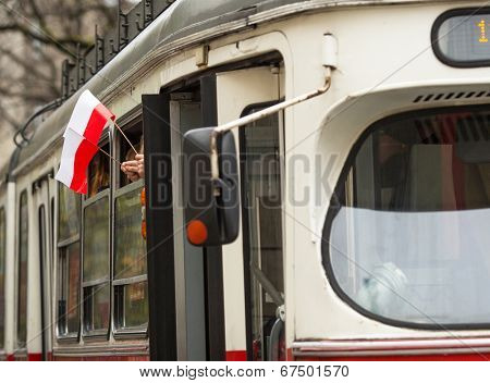 KRAKOW, POLAND - NOV 11, 2013: An unidentified participants celebrating National Independence Day an Republic of Poland. Is a public holiday, celebrated every year from 1918.