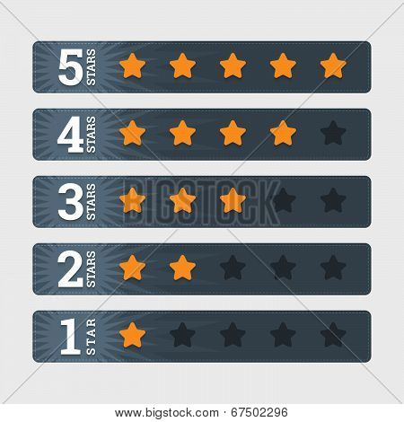 Star Rating Signs In Flat Style With Numbers. Vector Illustration.