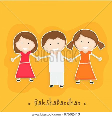 Happy little sisters holding their brother hand on yellow background for the festival of Happy Raksha Bandhan.