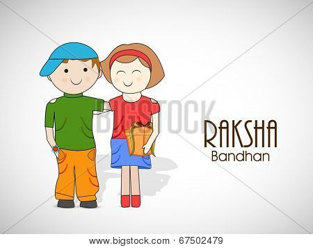 Illustration of cute little brother and sister with gift box on occasion of Raksha Bandhan celebrations.