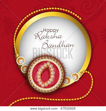Beautiful rakhi in golden frame on floral decorated maroon background for Happy Raksha Bandhan celebrations.