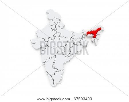 Map of Assam. India. 3d