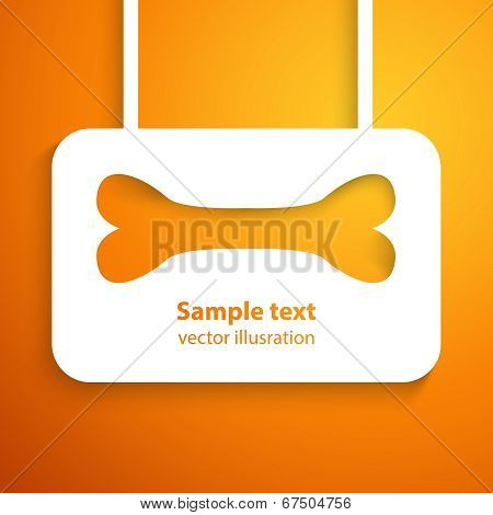 Applique bone icon frame. Vector illustration for happy animal