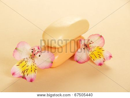 Fragrant toilet soap and the flower