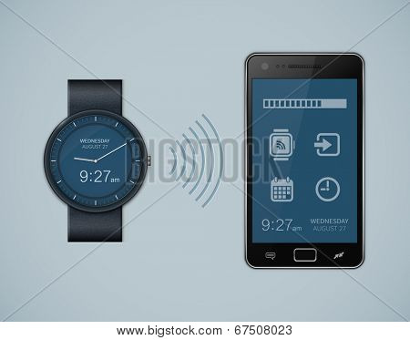 Calendar synchronization between smart watch and smart phone. Smartwatch and smartphone communication. Vector illustration