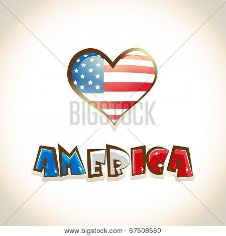 Glossy heart shape design with America on beige background for 4th of July, American Independence Day celebrations.