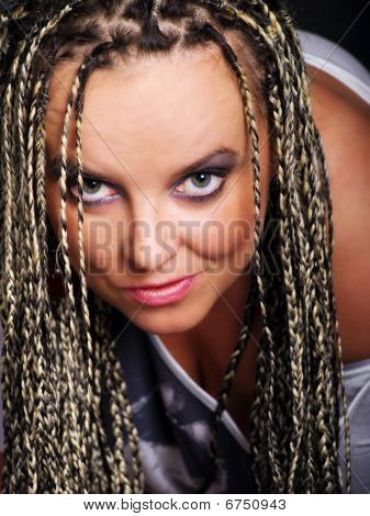 Portrait Of Vamp Woman In Braids