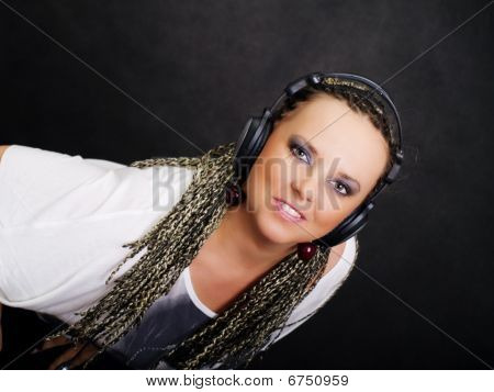 Party Woman In Braids Listening Music