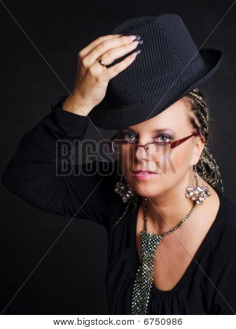 Party Woman With Braids Holding Hat
