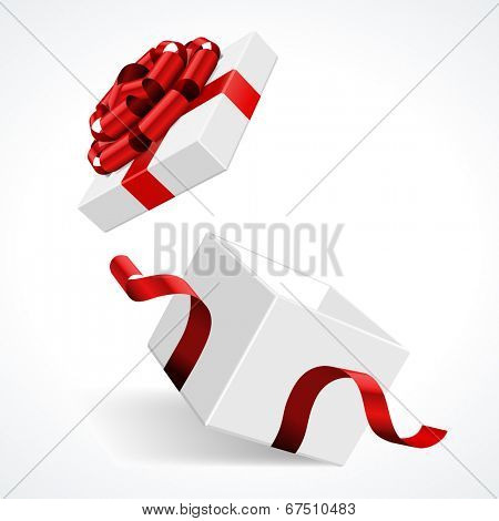 Open gift box and with red bow and ribbon vector template isolated on white background