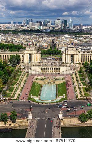 View Of Paris - River Seine, The Palais De Chaillot, La Defense From Eiffel Tower