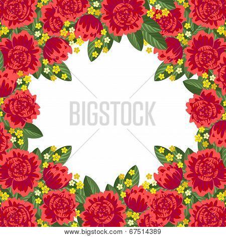 Red Floral Frame
