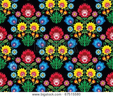 Seamless Polish folk art floral pattern - wzory lowickie, wycinanki