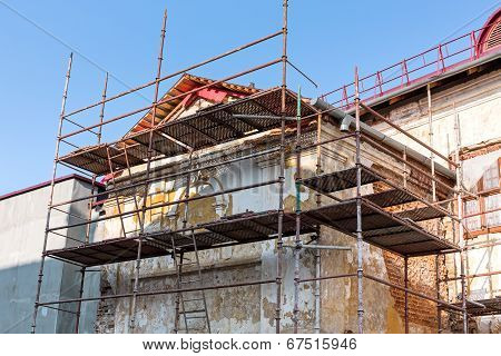 Old Residential Building Being Repaired