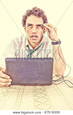 Business Man In Suit Addicted To Internet Put Usb Cable From Laptop Computer Into His Head And Relax