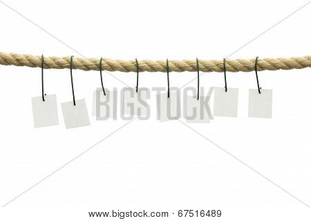 Eight Blank Cards Hanging Off A Rope